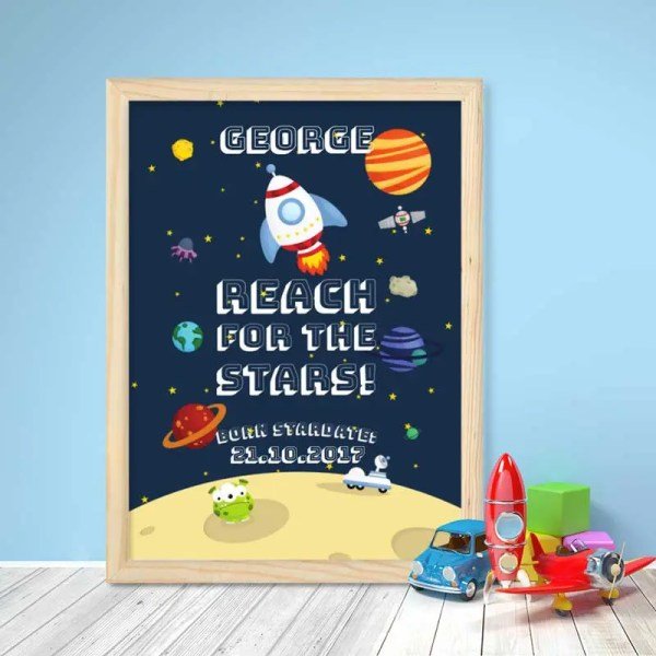 Personalised Baby Boy Poster with space illustration and customisable text