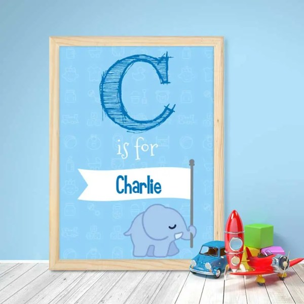 Personalised Baby Boy Poster with a large initial letter and customisable text