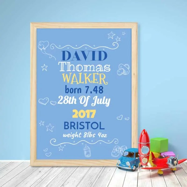 Personalised Baby Boy poster with customisable text