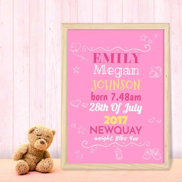 Personalised Baby Girl Poster with customisable text about their birth