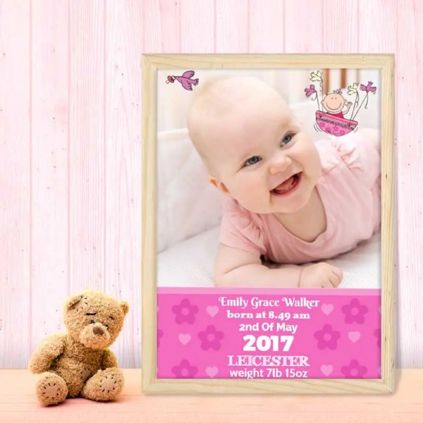 Personalised Baby Girl Poster with image and text
