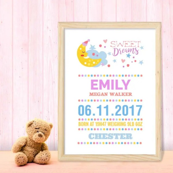 Personalised Baby Girl Poster with customisable text