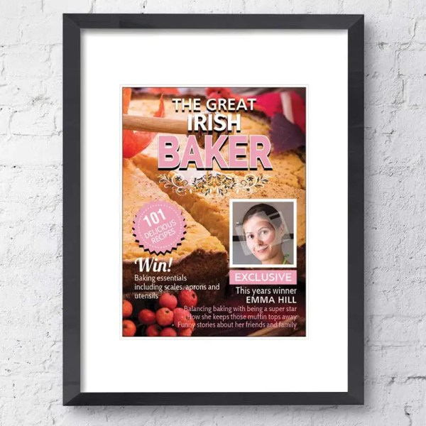 Personalised Magazine Poster with a cookery background and customisable text and images