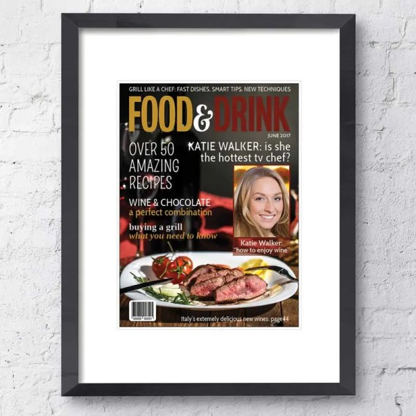 Personalised Magazine Poster with a fine dining background and customisable text and images