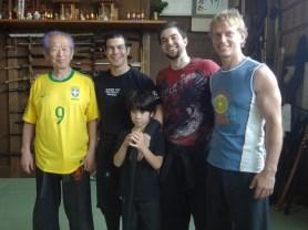 Hatsumi Sensei, Amiiru Shihan and Kenshin, Rob Renner Shihan and Pedro Henrique at Bujinkan Hombu Dojo in 2013