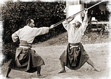 Takamatsu Sensei showing Bo (long-stick) techniques.