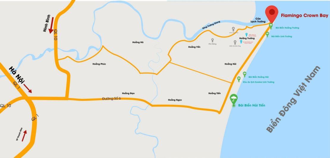 vị trí dự án flamingo crown bay hải tiến