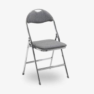 grå fällbar klappstol tygsits krom