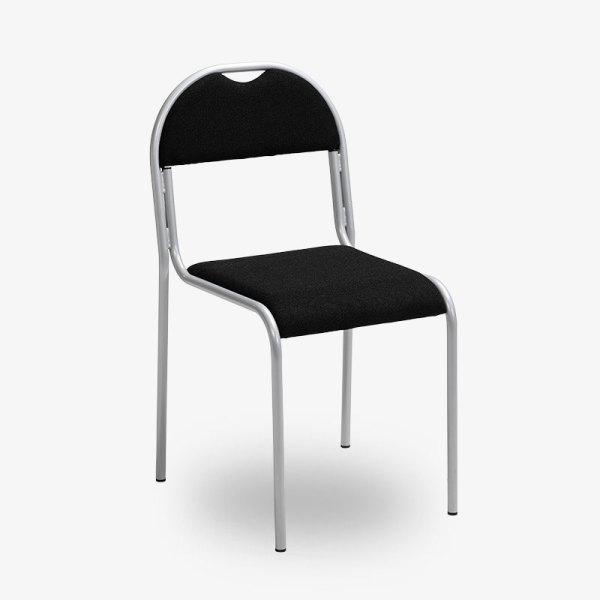 stapelbar konferensstol kontrosmöbler krom svart vit grå