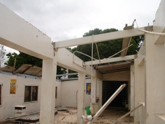 Renovations begin at the old children's ward - the roof comes off!