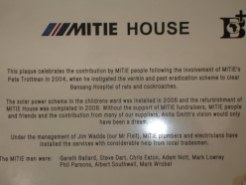 The MITIE house plaque