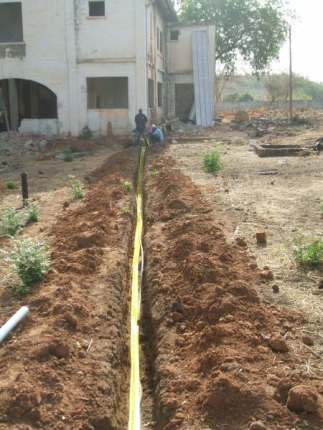 Laying the mains water pipe