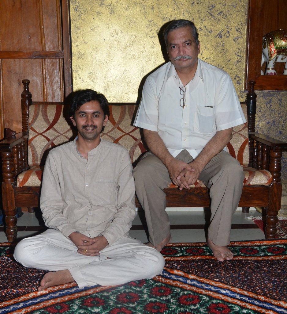 Shri Venugopal S Hegde with his Bansuri Guru Pandit Nityanand Haldipur