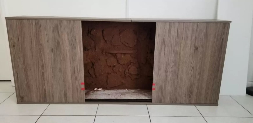 diy terrarium entertainment center with coco fiber background