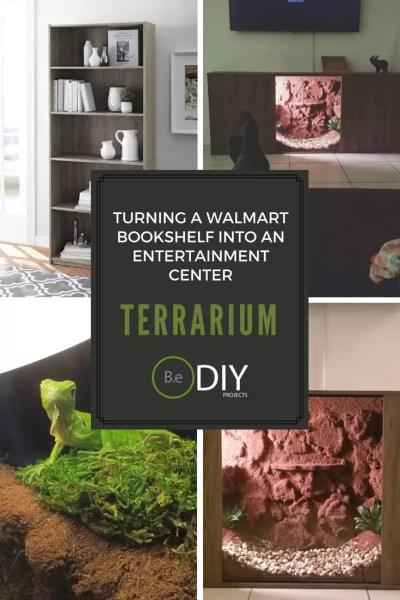 walmart bookshelf turned into entertainment center terrarium