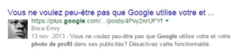 Votre photo de profil google dans les résultats de recherche