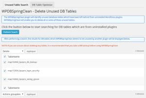 Supprimer les tables inutiles dans la BDD WP