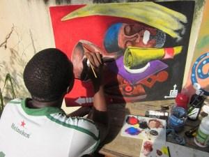 Peinture du Gabon: jeune artiste gabonais