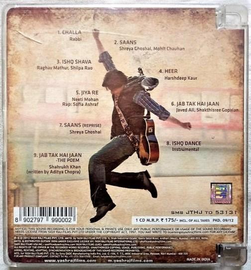 Jab Tak Hai Jaan Hindi Audio Cd By A.R. Rahman (2)