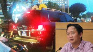 Ông Trịnh Xuân Thanh và chiếc Lexus gắn biển số giả. Ảnh: Thanh Niên
