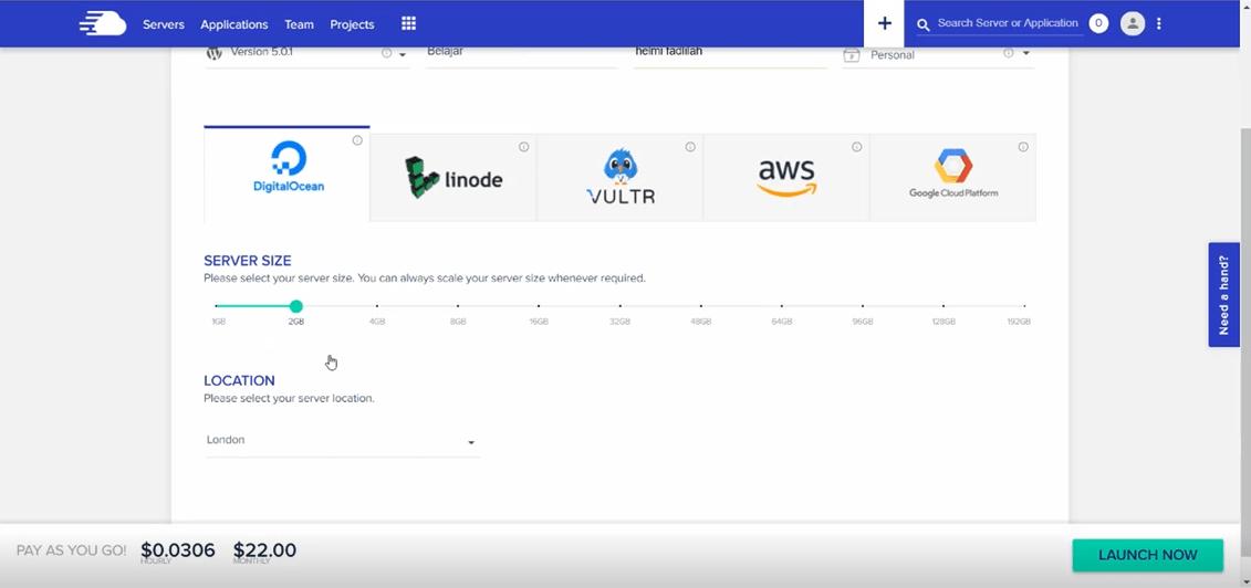 pilih server dan lokasi vps