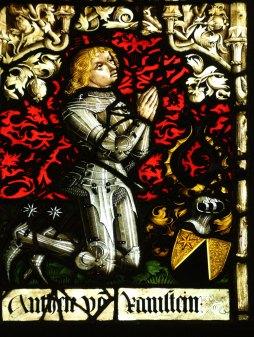 Heraldic panel German 1470s-1482 featuring a portrait of the kneeling Anton von Ramstein