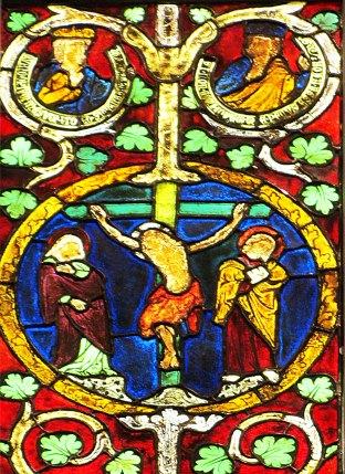 Crucifixion from Tree of Jesse window, German 1280-1300