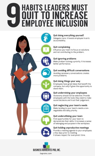 9 Habits Leaders Must Quit to Increase Employee Inclusion Infographic | BA PRO, Inc.