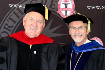 Richard Harris (left), keynote speaker for North Greenville University's May commencement, was awarded an honorary doctor of Christian leadership degree by the NGU board of trustees and NGU interim president Randall Pannell.