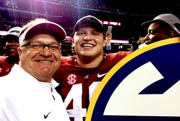 Gary Cramer, Fellowship of Christian Athletes director at the University of Alabama, stands next to Michael Nysewander, who he described as one of the Crimson Tide's spiritual leaders. (Photo courtesy of Gary Cramer)