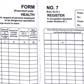 Form 7 Health Register Rule 18(7) under Factory Act