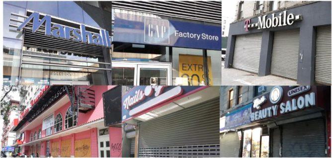 Cientos de negocios de corporaciones y locales cerraron