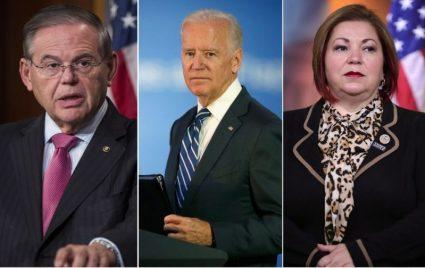 Bob Menéndez, Joe Biden y LindaSanchez.