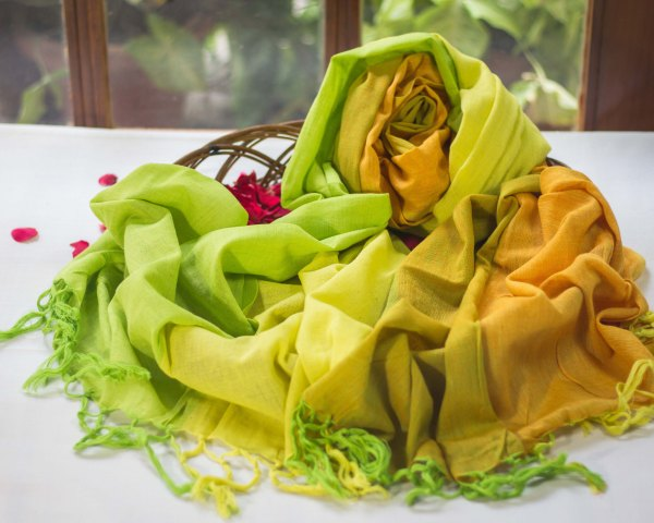 handloom cotton summer green yellow dupatta