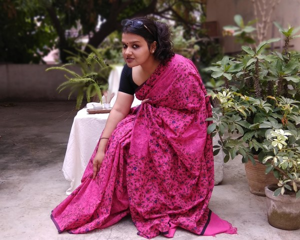 Handloom cotton saree, sari handmade handwoven in India
