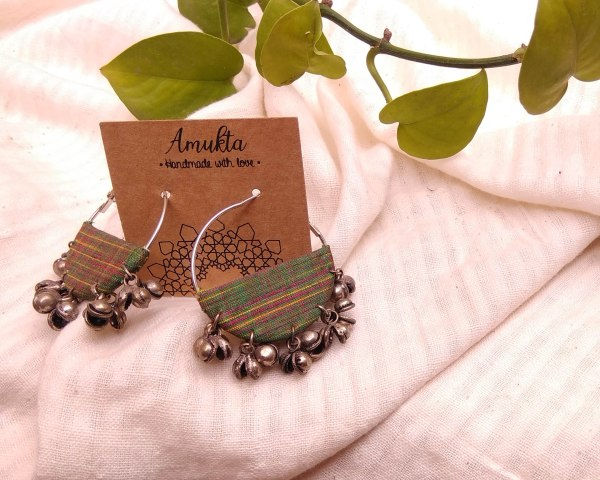 Handmade fabric jewelry earring ajrakh brocade