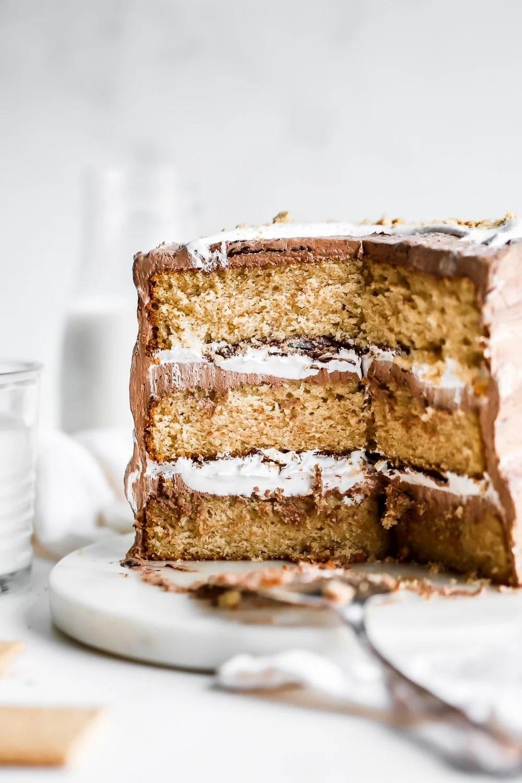 s'mores cake sliced