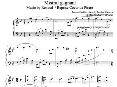 Renaud et Coeur de pirate Mistral gagnant pour piano