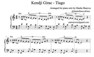 La partition facile de piano Tiago de Kendji Girac