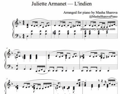 La partition de piano pdf L'indien de Juliette Armanet