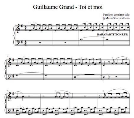 partition de piano avec doigtés toi et moi de guillaume grand