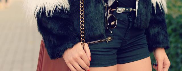 leather bag fur coat fancy