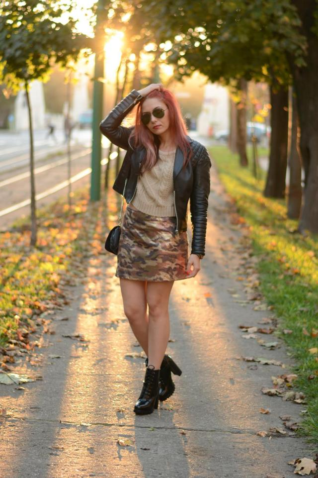 military sequin skirt leather jacket