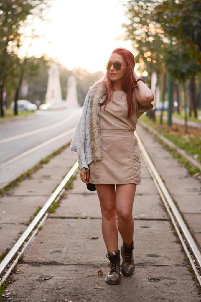 leather dress fur cardigan