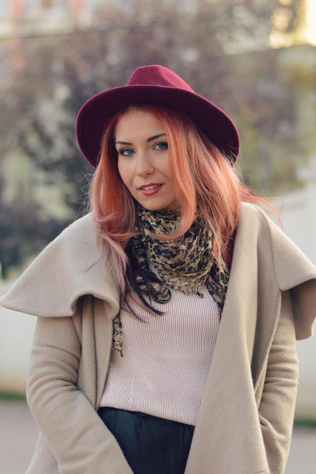 beige coat red hat blogger winter
