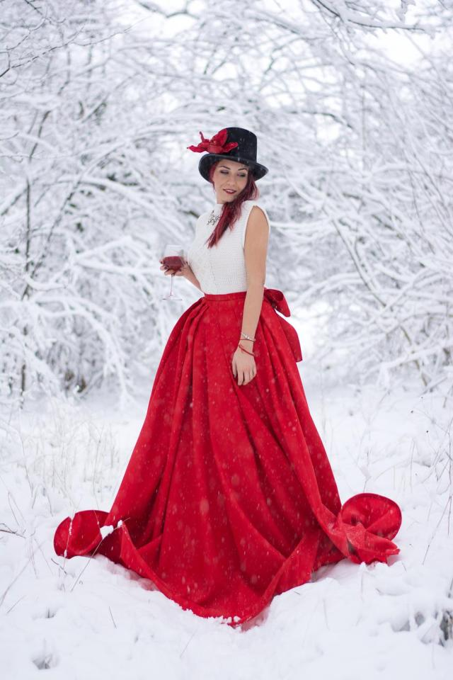 knitted white top maxi red skirt winter