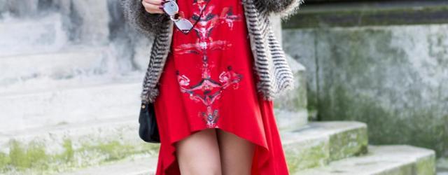 handpainted red dress fur jacket