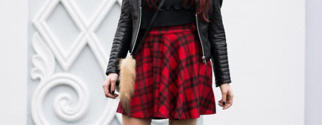 plaid skirt and leather jacket