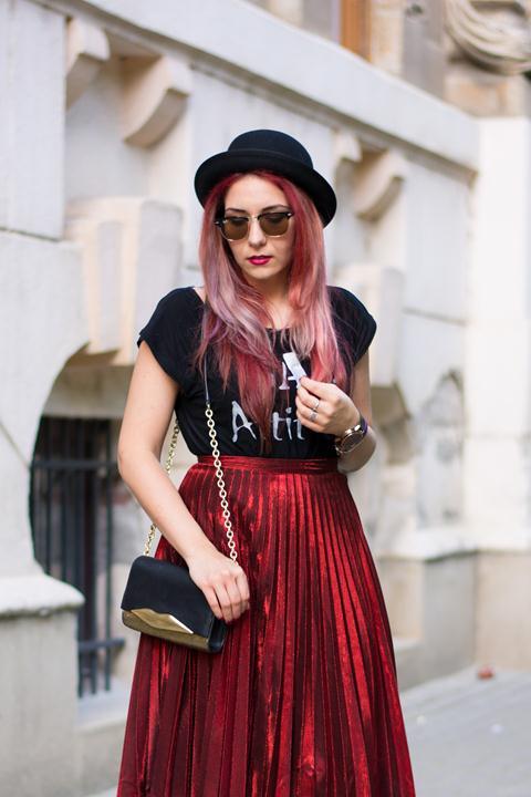 red metallic pleated skirt