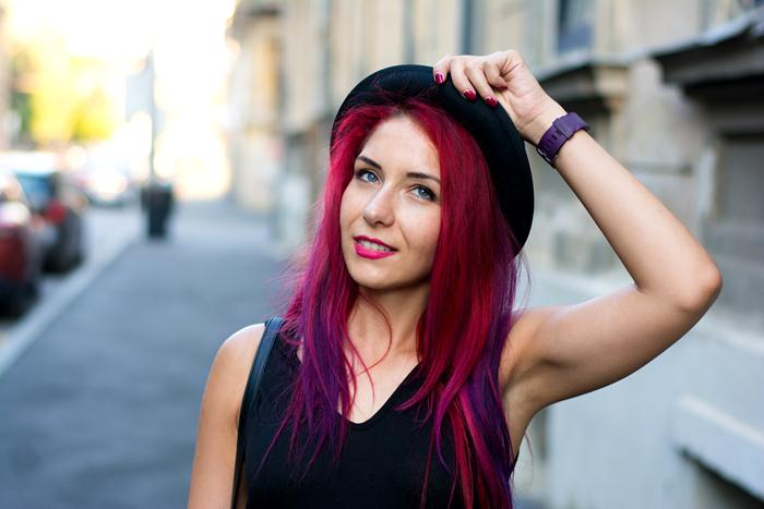 red purple hair and bowler hat